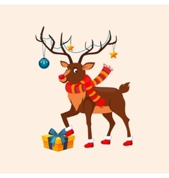 Deer with a Christmas Garland on the Horns vector image
