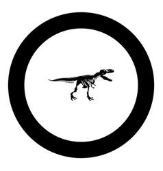 Dinosaur skeleton t rex icon black color in round vector