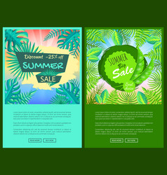 discount summer sale web posters set percent off vector image