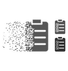 Disintegrating pixel halftone check list icon vector