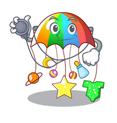Doctor character hanging toy attached to cot vector