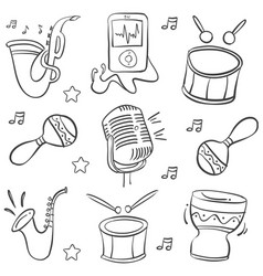Doodle music element hand draw vector