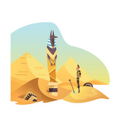 egyptian archaeology man stand in front anubis vector image