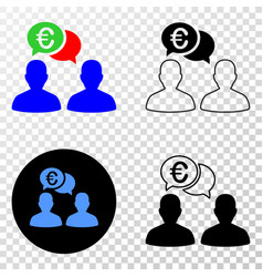 euro people chat eps icon with contour vector image
