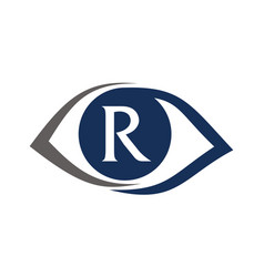 Eye care solutions letter r vector