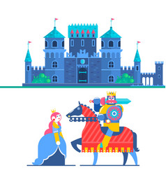 Fairytale castle characters prince and knight vector