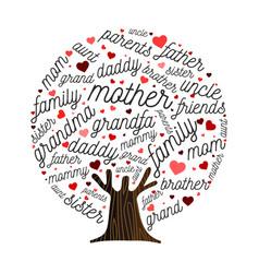 family tree made love heart shape concept vector image