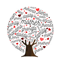 Family tree made of love heart shape concept vector