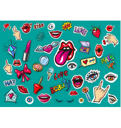 fashion patch badges pop art stickers vector image
