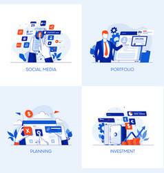 flat designed conceptual icons 6 vector image