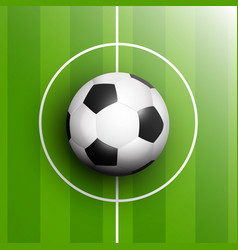 Football or soccer ball in centre point pitch vector