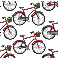 french culture symbol bicycle with flower basket vector image