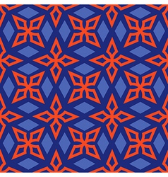 Geometric abstract bright seamless pattern on blue vector image