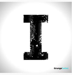 Grunge letter i black font sketch style symbol vector