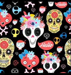 halloween pattern with decorative skulls vector image