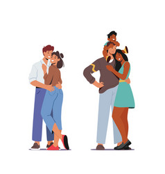 happy family relations loving couple embrace vector image