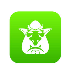 head of troll icon digital green vector image