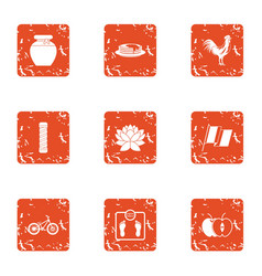 Health monitoring icons set grunge style vector