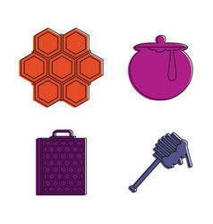 Honey icon set color outline style vector
