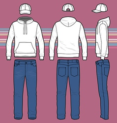 Hoodie cap and jeans set vector image