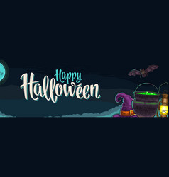 horizontal poster with happy halloween calligraphy vector image