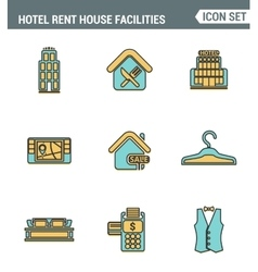 Icons line set premium quality of hotel service vector