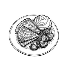 Ink sketch blini with sour cream vector