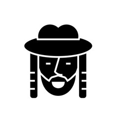 jewish icon black sign on vector image