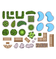 landscape design elements decoration isolated set vector image