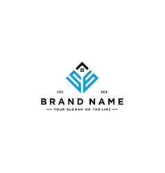 Letter sg square with roof house logo design vector