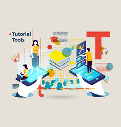 Letter t people using tutorial tools online vector