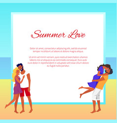 lovely hugging couples on summer beach with frame vector image