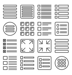 menu icons set on white background line style vector image