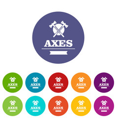 military axe icons set color vector image