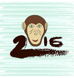 New year print monkey symbol hand drawn ink 2016 vector
