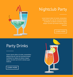 Nightclub party drinks web posters set push button vector
