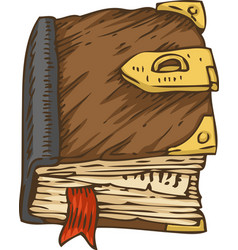 Old book with brown cover and clasp vector