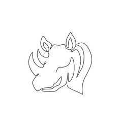 one single line drawing strong rhinoceros head vector image