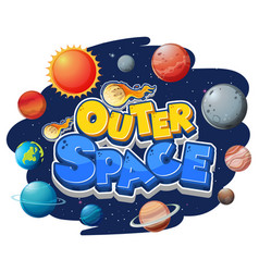 Outer space logo with many planets vector