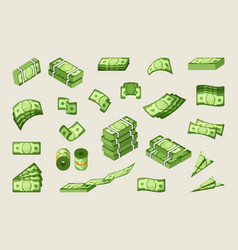 Paper cash single and stacked icons set vector