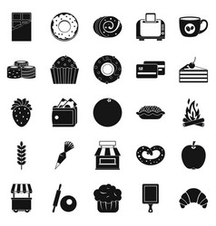 pastry icons set simple style vector image