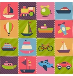 Patchwork background with transport vector image