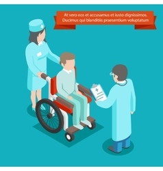 Patient on wheelchair with doctor staff 3D vector image