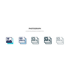 photograph icon in different style two colored vector image