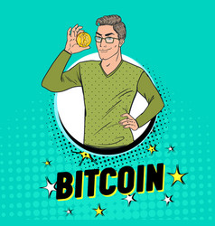 Pop art handsome man holding golden bitcoin coin vector