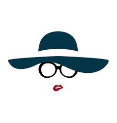 Portrait lady in graceful hat and glasses vector