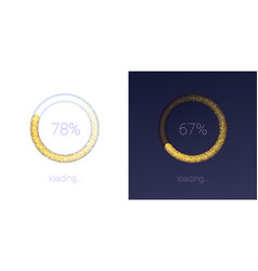 Progress loading bar for mobile apps icons of vector