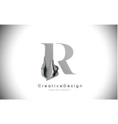 r letter design brush paint stroke black r letter vector image