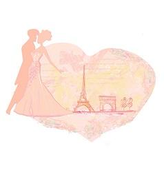 Romantic wedding dancer couple in Paris near the vector