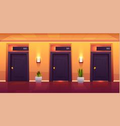 rooms in hotel corridor empty luxury hotel hallway vector image